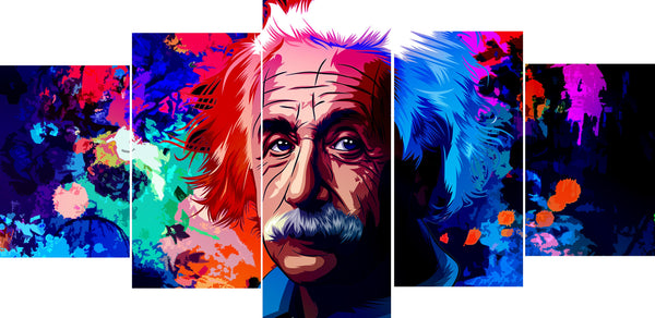 Albert Einstein 5 Panel Canvas Print Wall Art