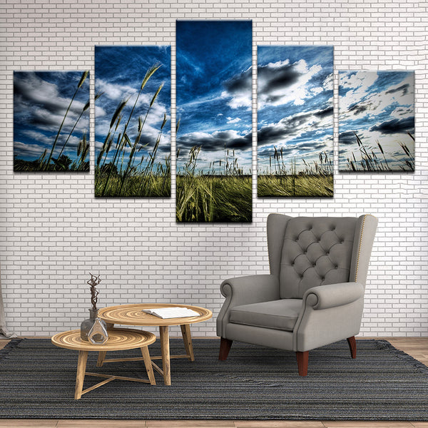 Wheat Field 5 Panel Canvas Print Wall Art