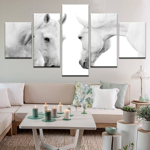 White Horses 5 Panel Canvas Print Wall Art