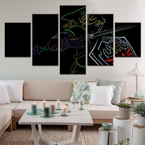 Zelda Link In Neon 5 Panel Canvas Print Wall Art
