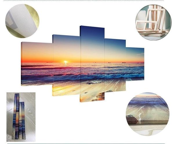 Beach Sunset Through The Clouds 5 Panel Canvas Print Wall Art