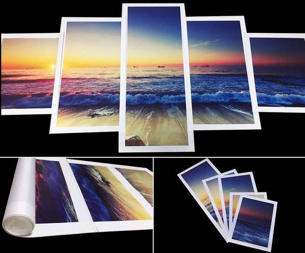 Lighthouse At Sunset 5 Panel Canvas Print Wall Art