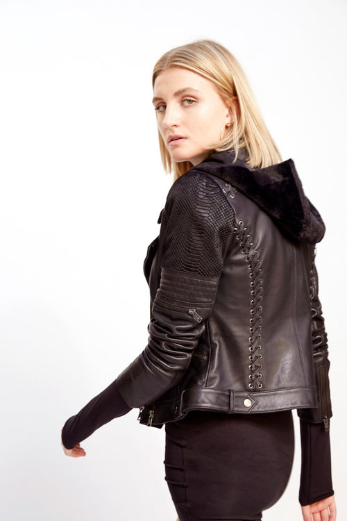 Esme Leather Jacket with Detachable Hoodie | Black