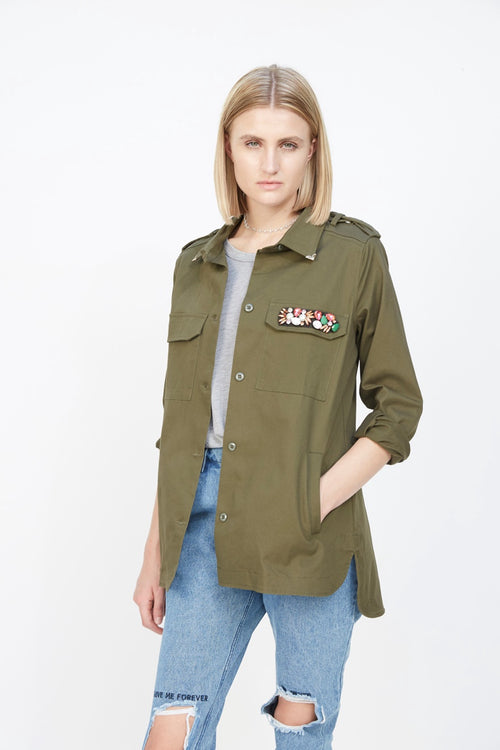 Embellished Over-Sized Military Jacket Green