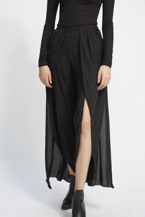 Draped Slit Trouser Black
