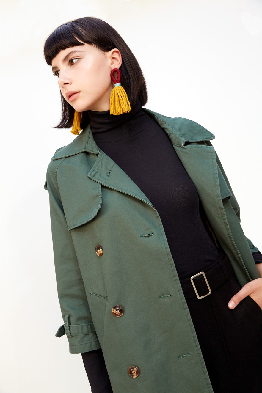 Boxy Trench with Cropped Sleeves Olive
