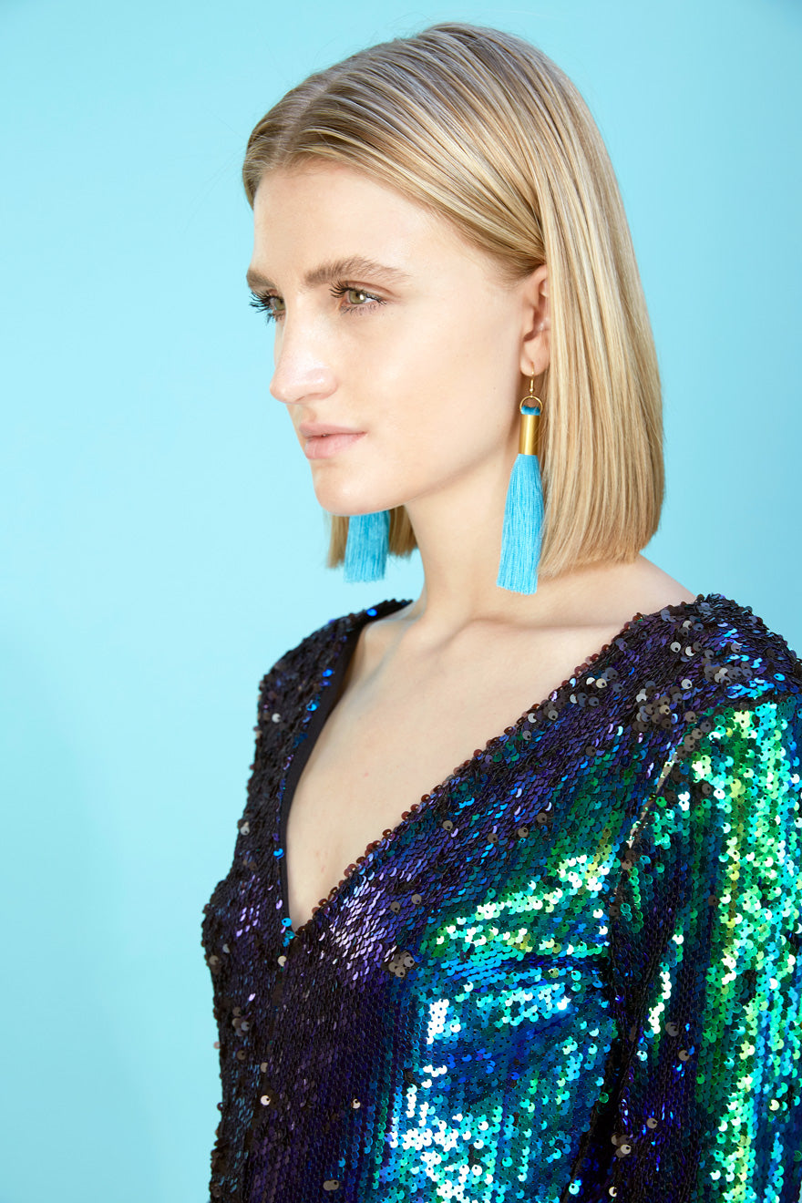 Silk Tassel Earrings | Turquoise Blue - Our Park Shop