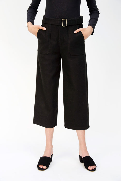 Cropped Wool Pant | Black