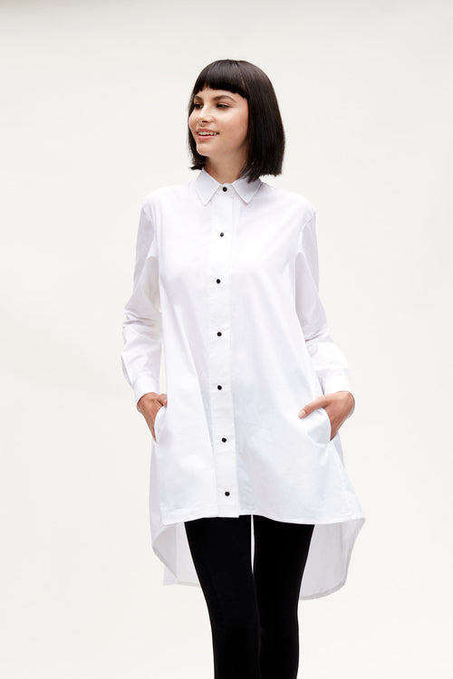 Brenda Shirt Dress White
