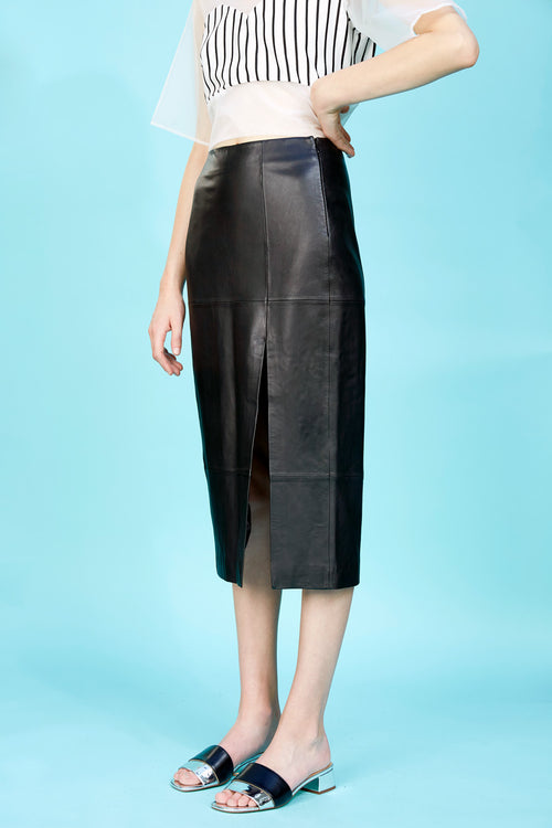 Bailey Leather Skirt | Black