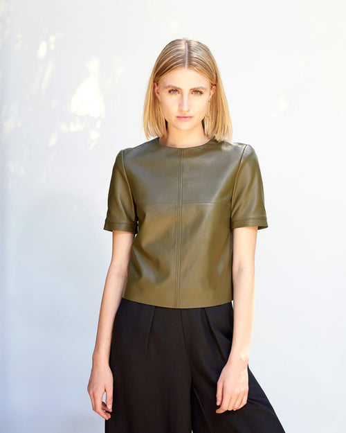 Jasmin Leather T-Shirt | Olive