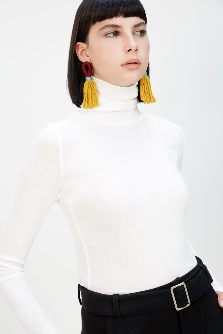 Mesh Knit Turtleneck White