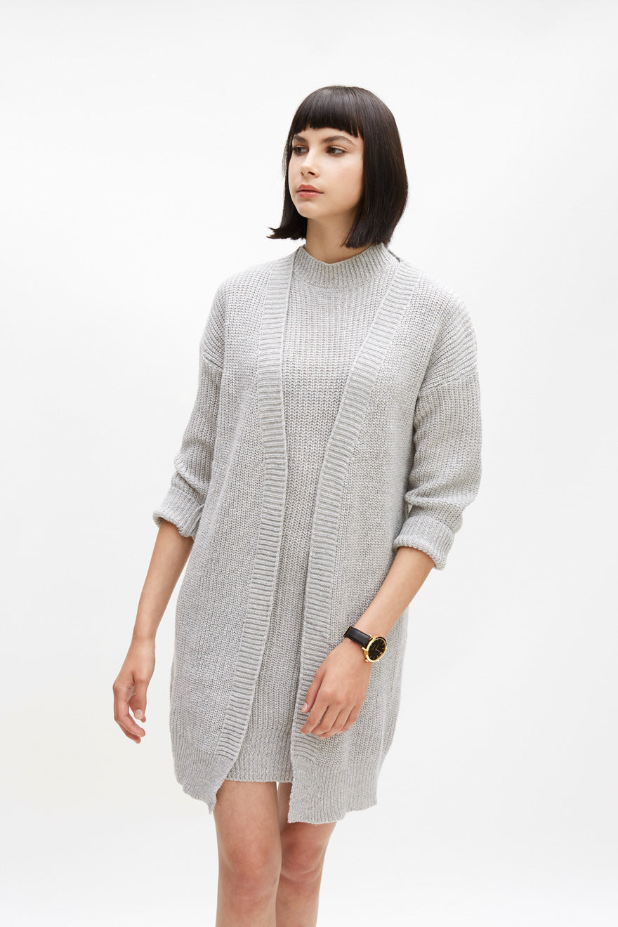Long Knit Button Down Cardigan Light Grey - One Size