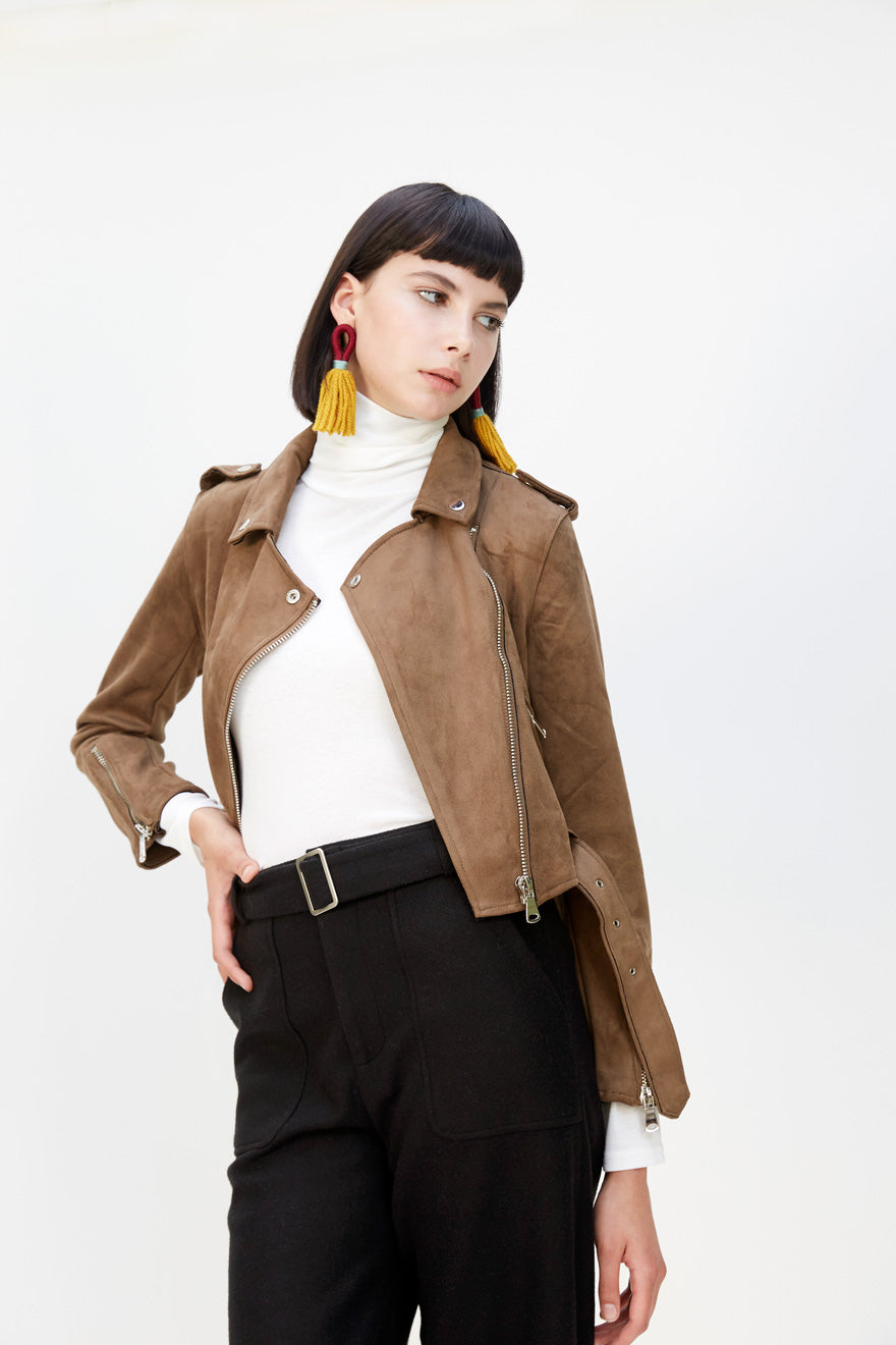 Suede Moto Jacket in Olive