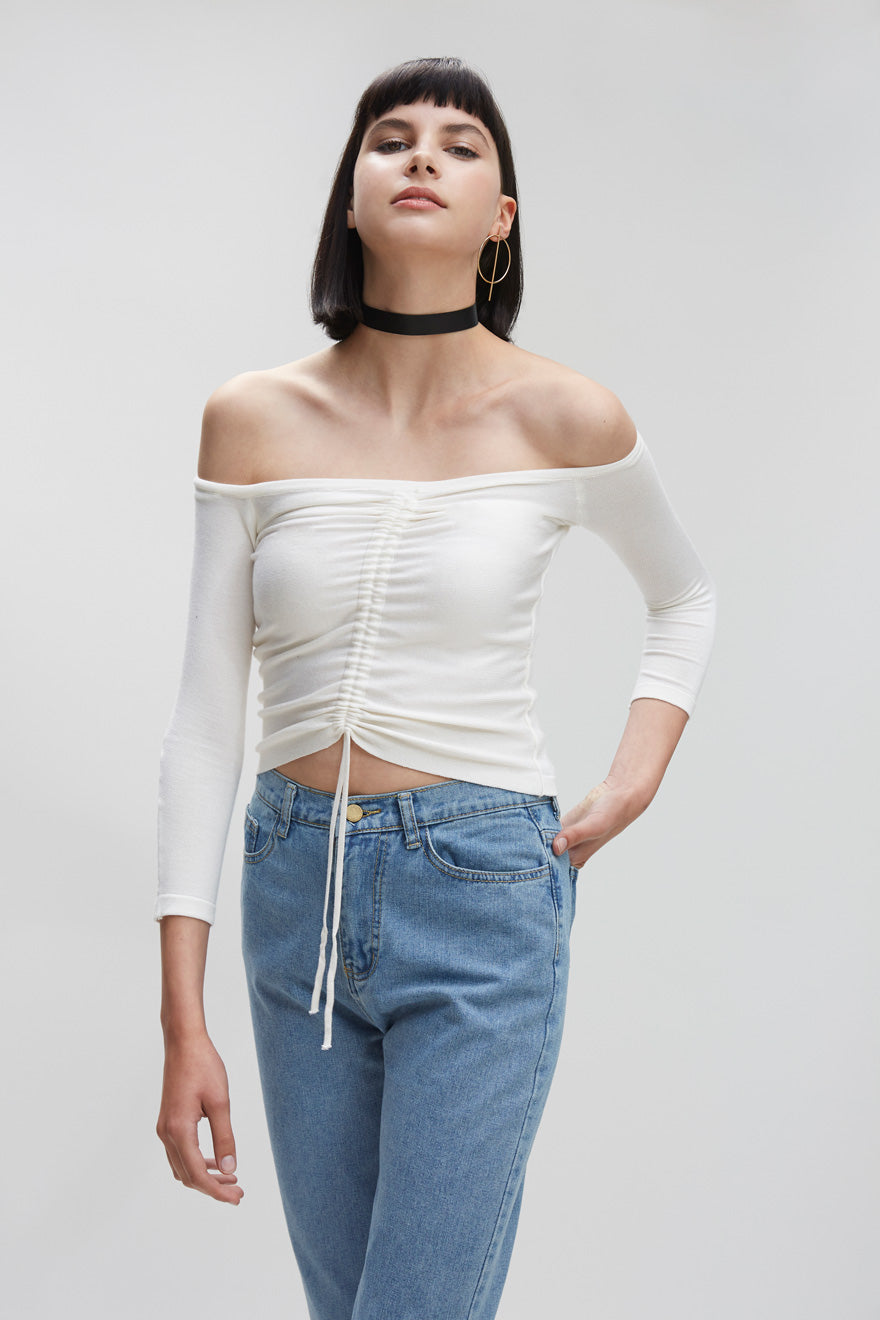 Off Shoulder Drawstring Shirt