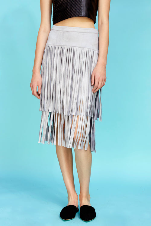 Fringe Skirt Grey