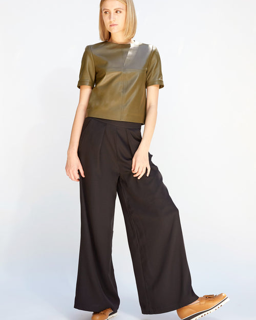 Exaggerated Wide Leg Pant Black
