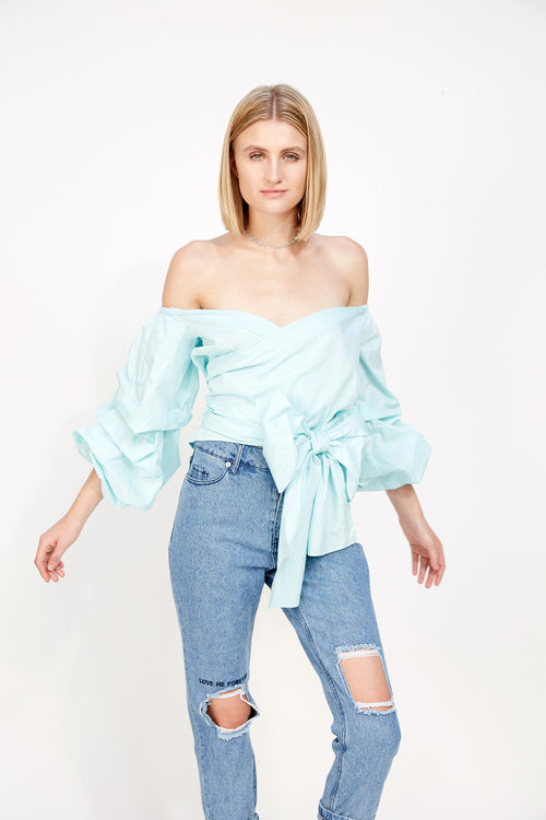 Ruffled Sleeved Wrap Blouse Seafoam