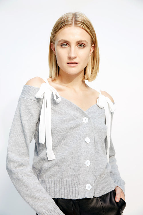 Bow Ribbed Sweater Grey