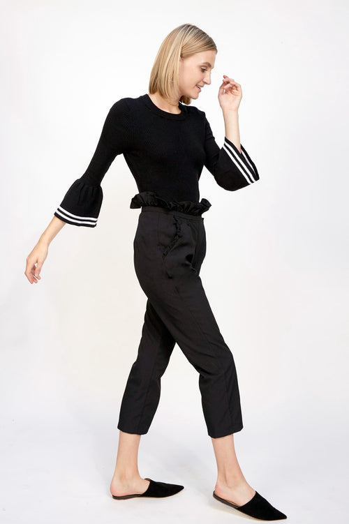 Trouser with Ruffled Waistband Black