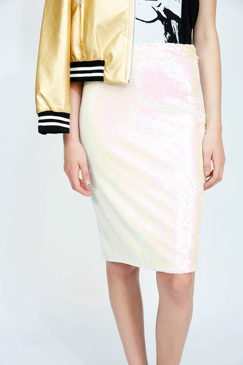 Sequin Skirt White