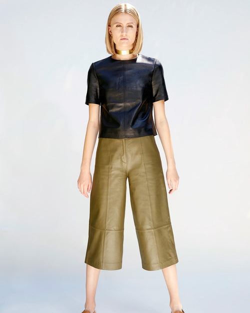 Trinity Leather Culottes | Olive