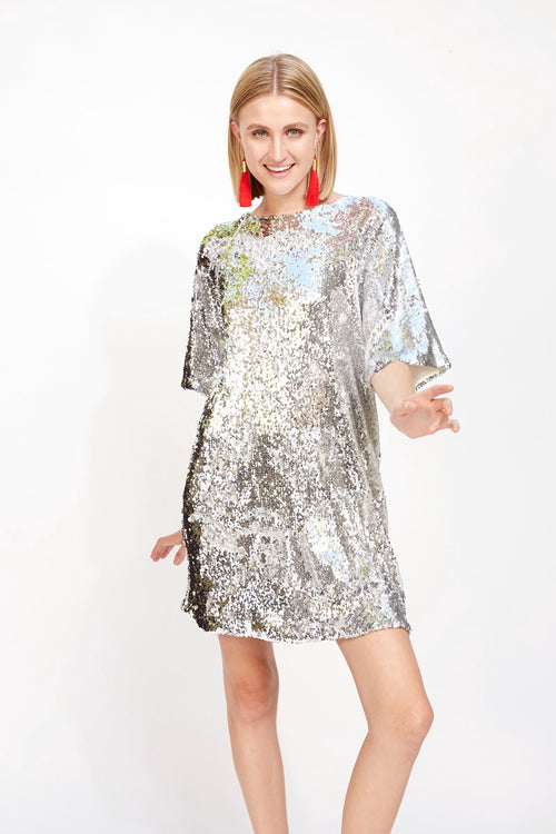 T-Shirt Dress Silver Sequins