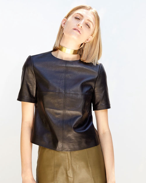 Jasmin Leather T-Shirt | Black