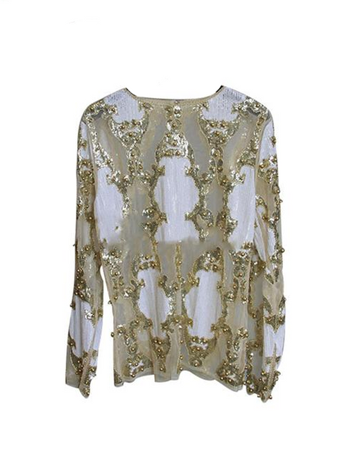 Gold Sequin Long Sleeve Mesh Top