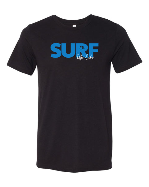'Surf Ute Lake' design on Black Triblend Tee Friday T-Shirt Co.