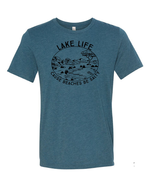 'Lake Life' design on B+C Triblend Tee - Steel Blue Friday T-Shirt Co.