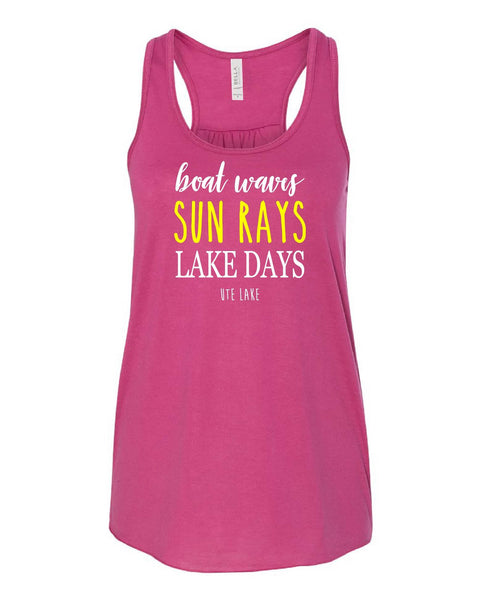 'Sun Rays' design on Bella+Canvas Flowy Racerback Tank - Berry Friday T-Shirt Co.