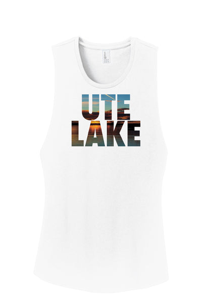 'Ute Sunset' Dye Sublimated design on District® Women's Fitted V.I.T. ™Festival Tank® Friday T-Shirt Co.