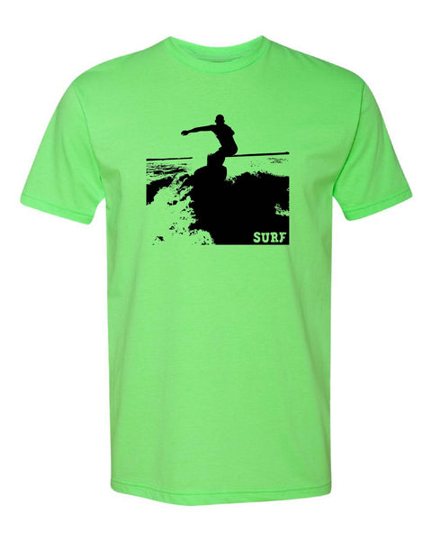 'Surfer' design on Next Level CVC Tee - Neon Green Friday T-Shirt Co.