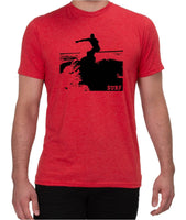 'Surfer' design on Allmade Triblend Tee - Rise Up Red Friday T-Shirt Co.