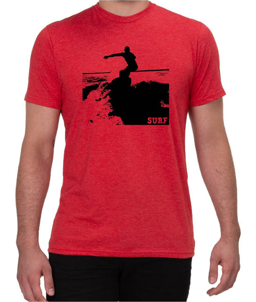 'Surfer' design on Allmade Triblend Tee - Rise Up Red