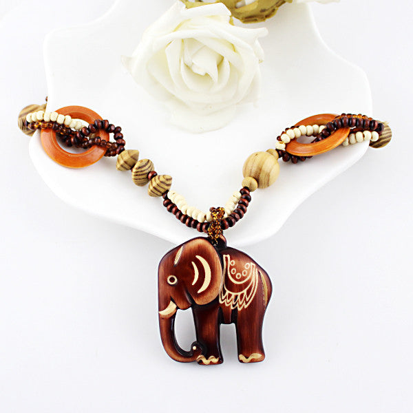 necklace gold rhinestone jewelry tone elephant pendant with