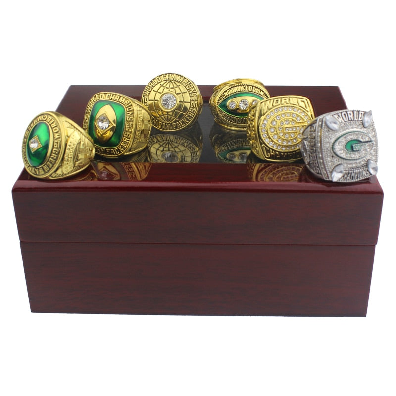 High Quality 6pcs Green Bay Packers Championship Ring Pendant Necklace Men Gift
