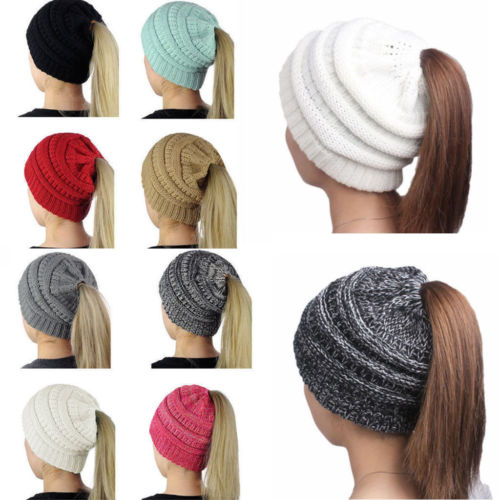 8bdedc59d46f3 Messy Bun Beanie Ponytail Hat - ON SALE