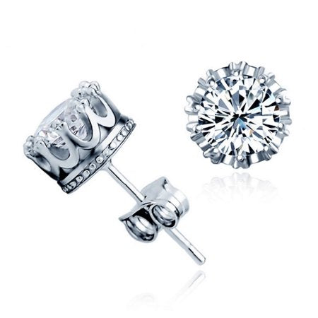 925 Sterling Silver Crown Stud Earrings