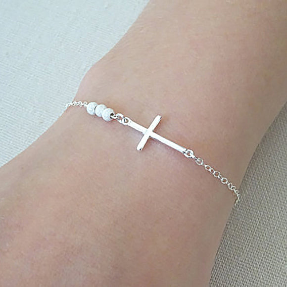 Women Beaded Cross Bracelet Chain