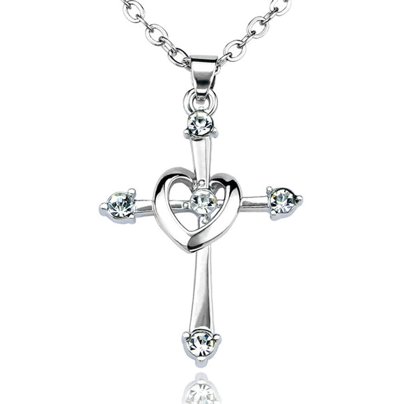 ZheFanku Cross Heart Pendant Necklaces