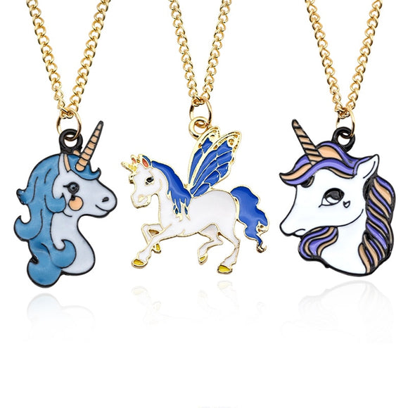 Colorful Enamel Unicorn Necklace