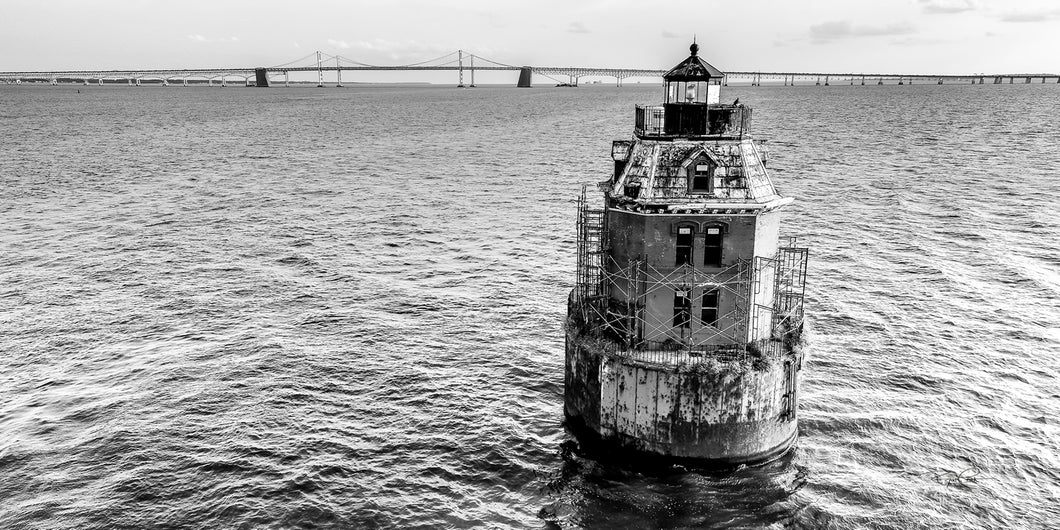Sandy Point Shoal Light - Black and White (Annapolis, MD)