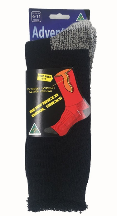 Men's Black Adventurer Cushioned Work Socks Australian Made