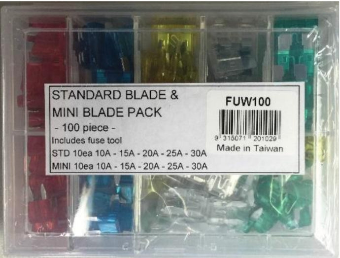 Auto Fuse Set Mini Wedge & Standard Wedge 100pc