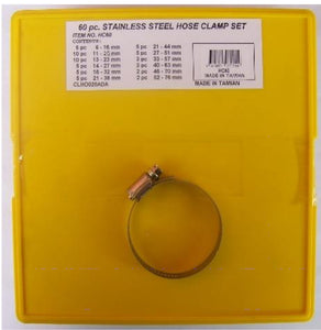 Hose Clamp Set - Stainless Steel 60pc