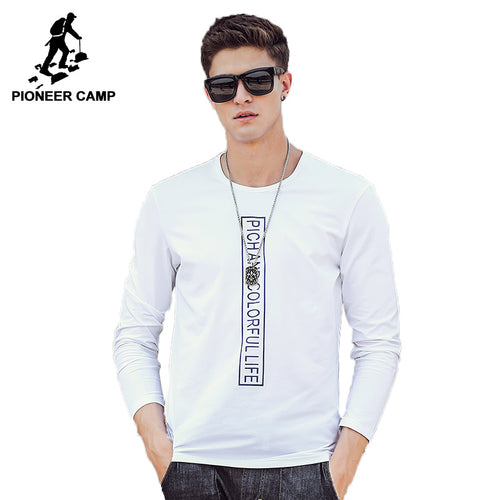 Pioneer Camp brand clothing T shirt men top quality 2017 Spring Autumn Men Long Sleeve Tshirt male Long-Sleeved T-Shirt