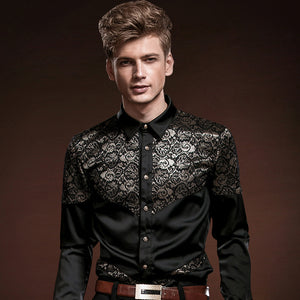 FanZhuan Free Shipping New male long sleeved men's fashion casual personality gentleman black lace stitching slim shirt 14228