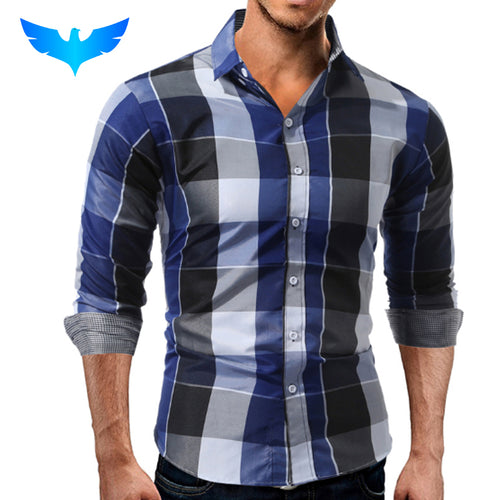 QINGYU Brand 2017 Fashion Male Shirt Long-Sleeves Tops Casual Plaid Slim Mens Dress Shirts Slim Men Shirt 3XL ASDD